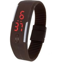 Brown Plastic Digital Rectangular Bracelet Band LED Watch For Boys, Men, Girl, Women