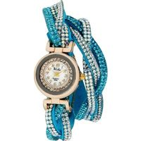 Skyblue Crystal Shimmer Modest Analog Watch - For Women
