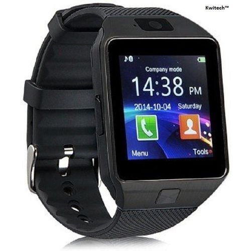 Kwitech™ Bluetooth 3.0 Smart Watch DZ09 with SIM Slot & Camera For all Android Smart Phones & Apple iOS - Black