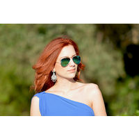 Silver Frame Yellowish Green Mirror Lens Aviator Sunglasses