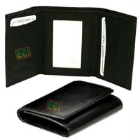 SuperDeals Leather Gents Black Purse Triple Fold Men's Wallet
