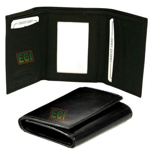 SuperDeals Leather Gents Black Purse Triple Fold Men s Wallet