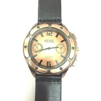 Vintage Screw Design Quartz Black Leather Strap Mens Wristwatch