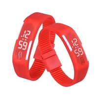 Red PlasticDigitalRectangularBraceletBandLEDWatchForBoys, Men, Girl, Women