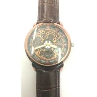 Copper Leather Skeleton Mechanical Fashion Luxury Black Dial Mens Wrist Watch
