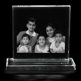 Personalized Photo engraved Crystal Plaque with base