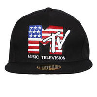 Capskart Snapback Fashion Cap with MTV Embroidery Black