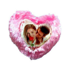 Heart Fur Photo Cushion with Pillow Pink YashGifts. in