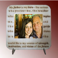 Personalized Photo Tile on Wood Desktop - Father