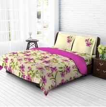Tangerine Tangy Silver Cotton King Xl Bedsheet With 2 Pillow Covers - Multicolor