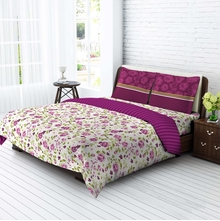 Tangerine Easy Care Double Bedsheet with 2 Pillow Covers Gift Set - Purple