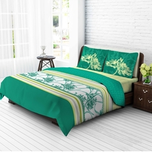 Tangerine Tangy Gold Cotton King Bedsheet With 2 Pillow Covers - Multicolor