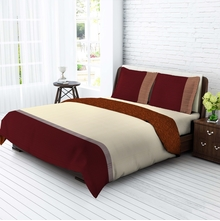 Tangerine Tangy Silver Cotton Double Bedsheet With 2 Pillow Covers - Multicolor