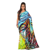 7 Colors Lifestyle Abstract Digital Printed Georgette Saree - AAHSR1108NADG