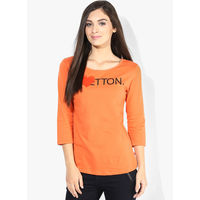 United Colors of Benetton Solid T Shirt,  orange, m