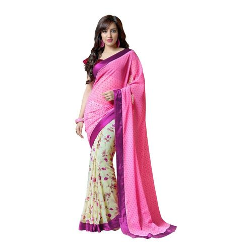 7 Colors Lifestyle Georgette Floral Printed Saree - AAKSR900VRSI