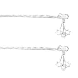 Lovely Plain Chain Silver Anklets-ANK058