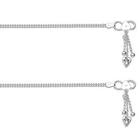 Impressive Plain Chain Sterling Silver Anklets-ANK068