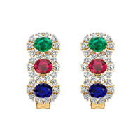 Colorful Stones Diamond Earrings-RBL0052, vs-gh, 18 kt