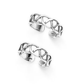 Pleasing Cutwork Silver Toe Ring-TR97
