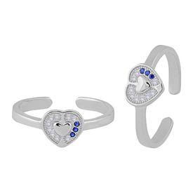 Peerless Heart CZ Sterling Silver Toe Ring-TRMX083