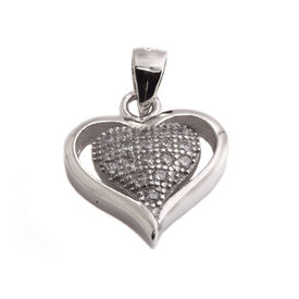 Good-Looking Heart CZ Sterling Silver Pendant-PDMX008