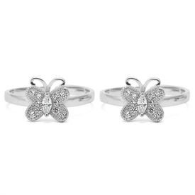 Elegant White Zircon Butter-Fly Silver Toe Rings-TOER059