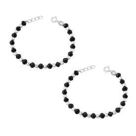 Silver & Black Beads Nazariya Sterling Silver Bracelet For Kids-BRNZ002