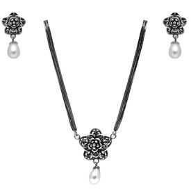 Admirable Flower & Pearl Sterling Silver Necklace Set-NS008
