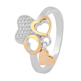 Heart Design Two Tone Hanging Charm Silver Finger Ring-FRL121
