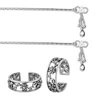 Chain Anklets & Flower Silver Combo-ANKTR007