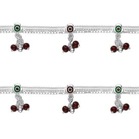Dazzling Enamelled Flowers & Beads Anklets-ANK052