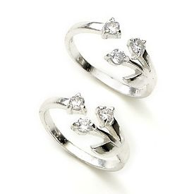 Splendid Upper Openable Zircon Silver Toe Ring-TR102