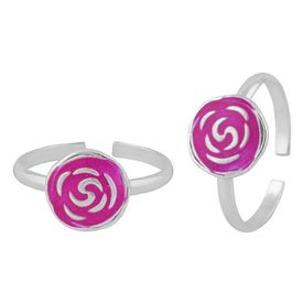 Tantalizing Enamel Flower Sterling Silver Toe Ring-TR393