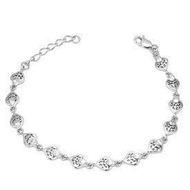 Shimmering Heart Design Sterling Silver Bracelete-BR018