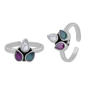 Sparkly Multi Color Zircon Sterling Silver Toe Ring-TRMX057