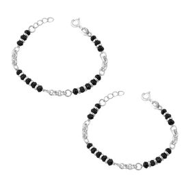 Nazariya With Silver & Black Beads Sterling Silver Bracelet For Kids-BRNZ007