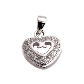 Bewitching Heart CZ Sterling Silver Pendant-PDMX007