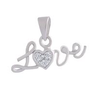 Cursive Love CZ Silver Pendant-PD187