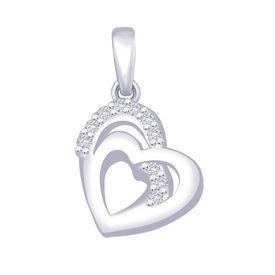 Dazzle Heart CZ Silver Pendant-PD156