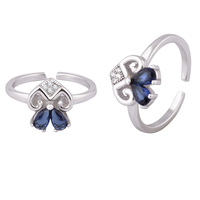 Bow Stone Silver Toe Rings-TRMX123