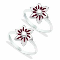 Incredible Enamel Floral Sterling Silver Toe Ring-TR459