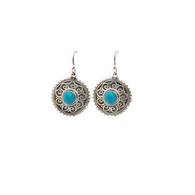 Green Dome Silver Hoops- ER071