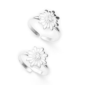 Lovely Flower Shape Stone Toe Ring-TR275