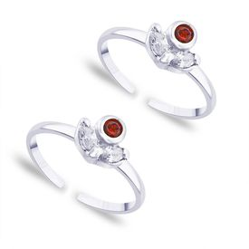 Red Studded Silver Toe Ring-TR167