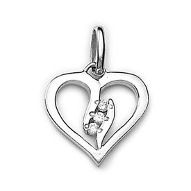 Lovely Heart Zircon Sterling Silver Pendant-PD151