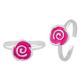 Winsome Enamel Flower Sterling Silver Toe Ring-TR392