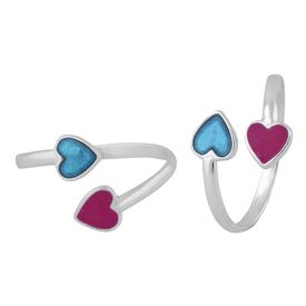 Duo openable Heart Silver Toe Ring-TR403
