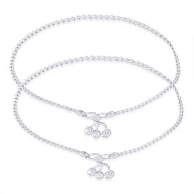 Gleaming Plain Chain With Charm Sterling Silver Anklets-ANK079