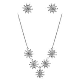 Gleaming Flower Zircon Sterling Silver Necklace Set-NS004
